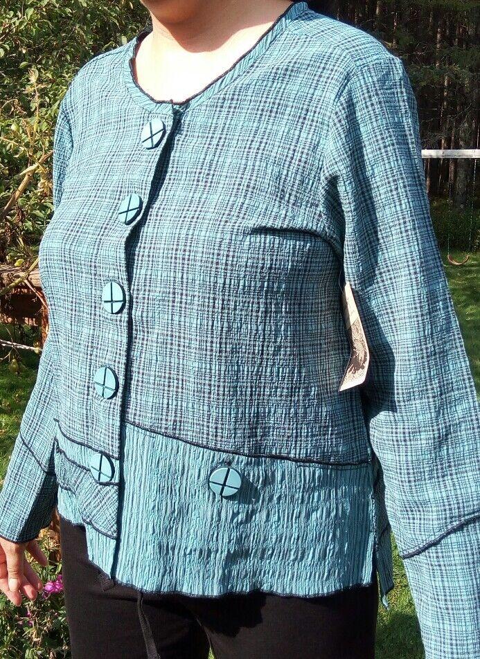 New LARGE HABITAT Dark sea-foam rich Blau Grün  Jacket blouse CUTE
