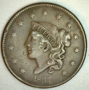 1837-Coronet-Large-Cent-US-Copper-Type-Coin-Extra-Fine-XF-Variety-N1-R10