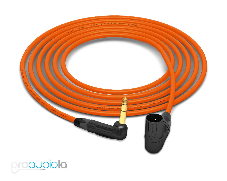 Mogami 2534 Quad Cable Neutrik guld 90º TRS to 90º XLR-M Orange 18 Feet 18'