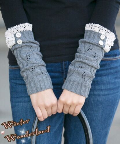 Arm//Hand Warmer with Vintage Lace Trim Brand New CUTE Winter Knitted Book Socks