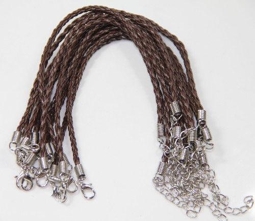 "20//100PCS Handmade Braided Leather Cord Rope Bracelet 9.5/"" Diy Jewelry Finding"