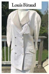 Couture scuro grigio Tuta Gonna doppiopetto 12 Feraud Louis lino in bianco vintage w8xOqRT