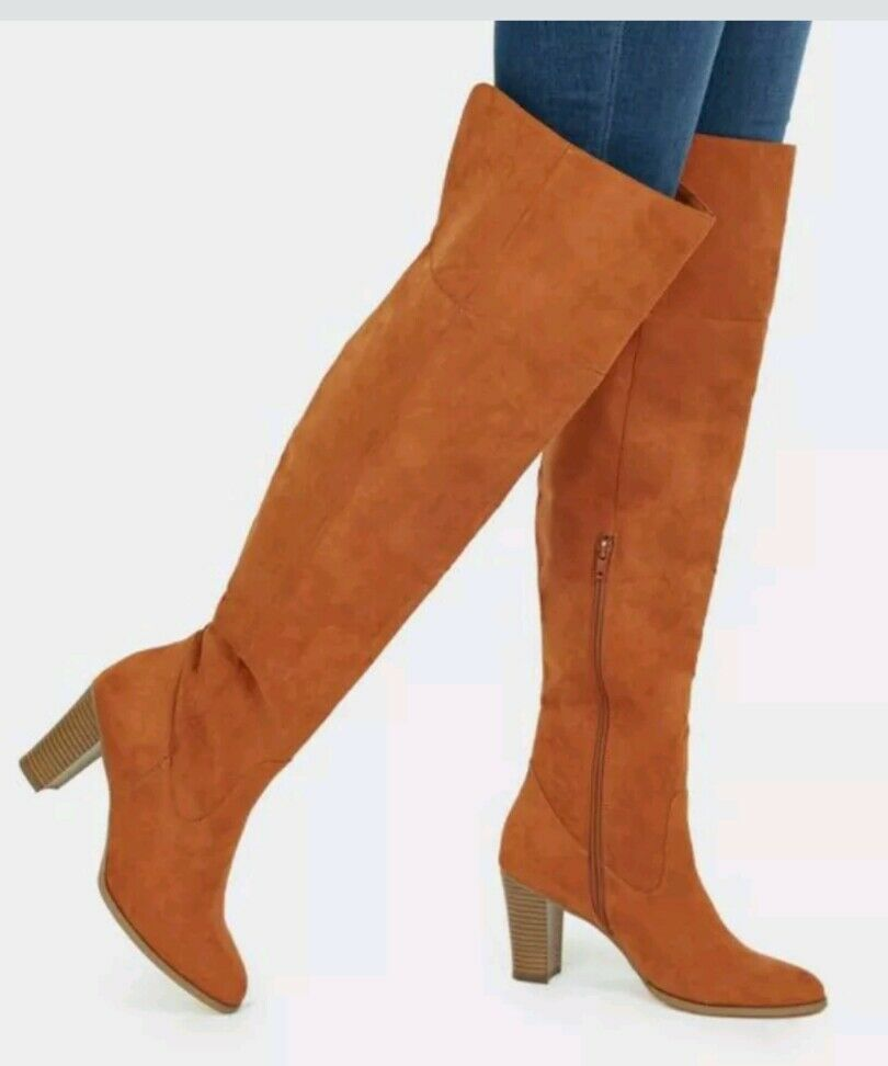 Just Fab Kareena Rust High Length Boots Size UK 5