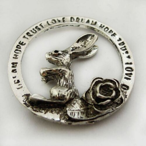 15pcs Antique Silver Alloy Engraving Circle Rabbit Charms Pendants Jewellery