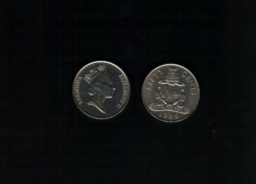 BERMUDA 50 CENTS KM48 1986//1988 QUEEN ARMS RARE DATE CARIBBEAN MONEY ONE COIN