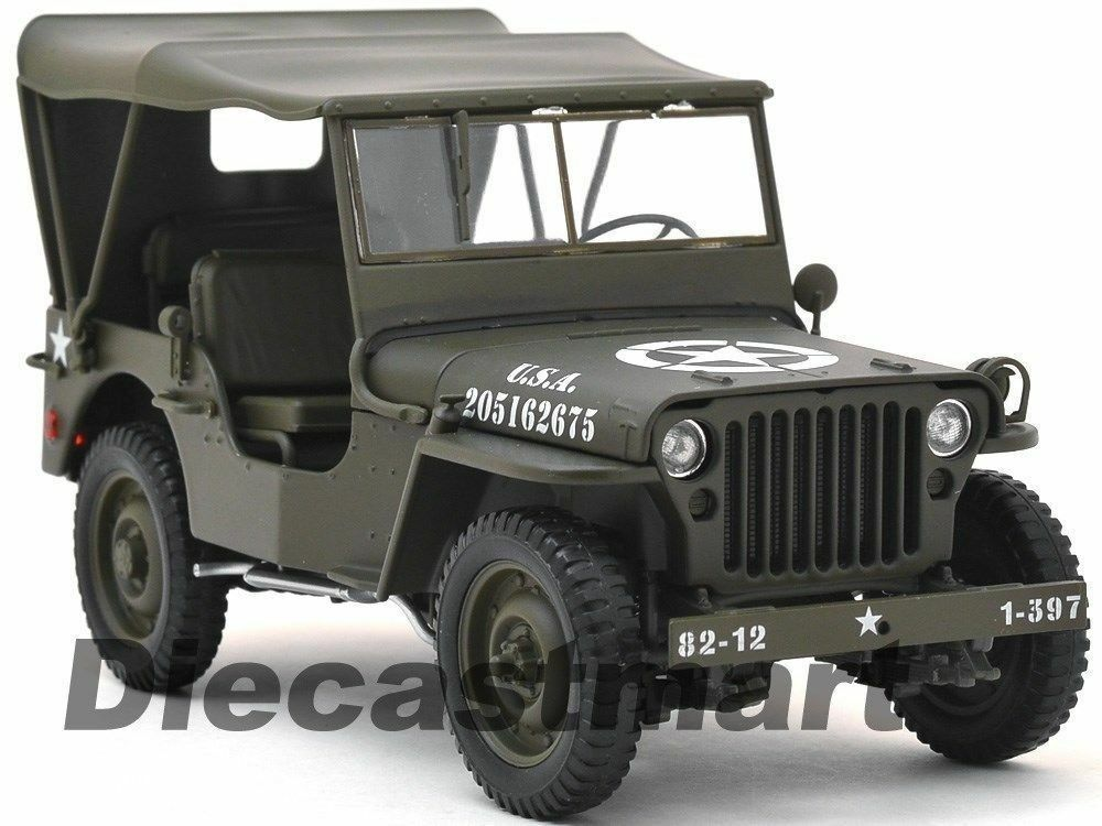 1 18 Welly Willys Jeep US Army Softtop 1942-1945 Vert Olive