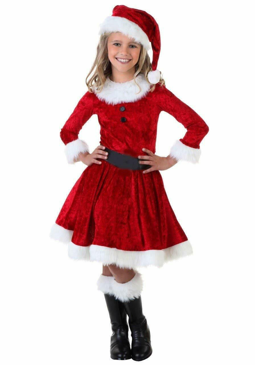 Girls Santa Claus Dress Christmas Costume Cap for Children Age 3 to 10 years