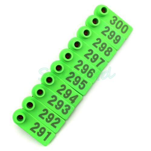 Green Ear Tag Plastic Livestock Tag For Goat Sheep Pig Cow Number 1-500