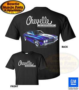 68 69 70 71 72 CHEVY CHEVELLE SS T-SHIRT BLACK TEE SHIRT GM LICENSED 1970