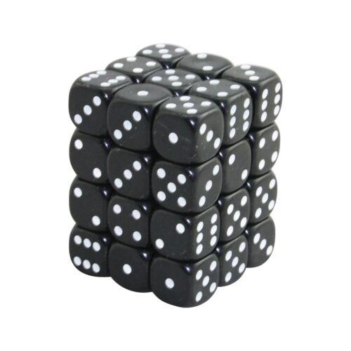 Black 12MM d6 Opaque DICE set x36