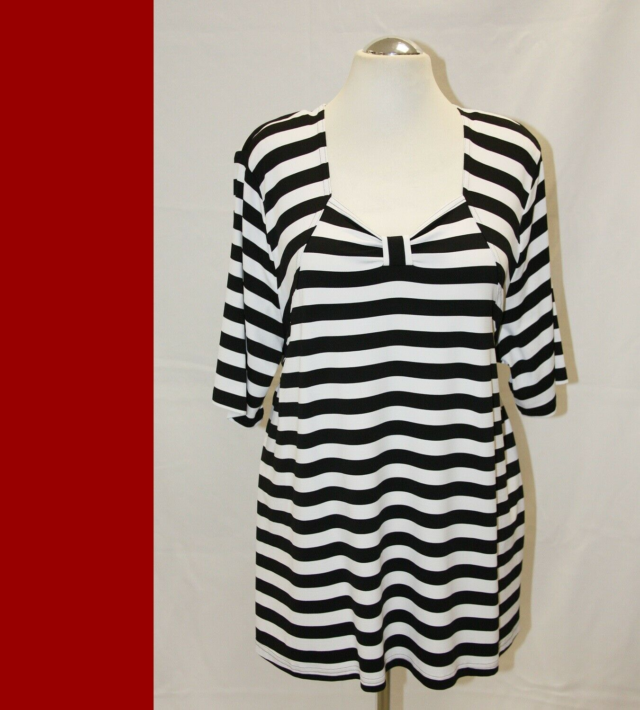 MONA LISA -  Shirt Tunika schwarz weiß gestreift A-Linie - Jersey  -  48-54