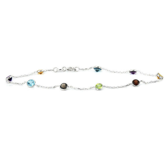 14k White Gold Multi Colored Gemstone Bracelet 8 Inches