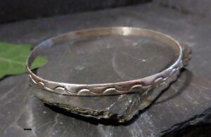 Huebscher-925-Sterling-Silber-Armreif-Mexico-Wellen-Design-Optik-Vintage-60-70er