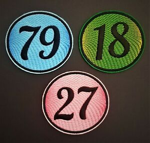 Personalised Number Embroidered Patch Badge Standard Round Iron on sew on