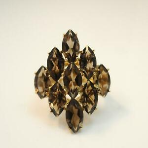 9-Carats-Smoky-Quartz-Womens-Cluster-Ring-Solid-9ct-Gold