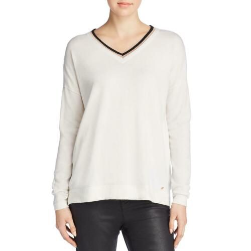 Donna Karan Womens Metallic V-Neck Long Sleeves Pullover Sweater Top BHFO 5138