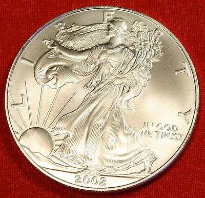 2002 AMERICAN SILVER EAGLE DOLLAR 1 oz .999/% BU GREAT COLLECTOR COIN GIFT