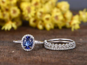 1-95Ct-Oval-Cut-Tanzanite-Halo-Style-Wedding-Trio-Ring-Set-14K-White-Gold-Over