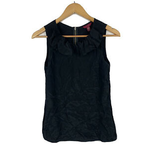 Ted-Baker-Womens-Tank-Top-Size-1-AU-8-Black-100-Silk-Sleeveless-Frilly-Neck