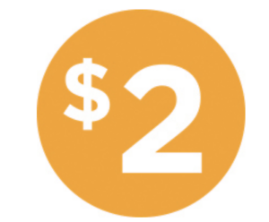 """Two Dollar $2 Icon Price Labels 1000 each per roll size 1/"""" Round Oval STICKERS"""