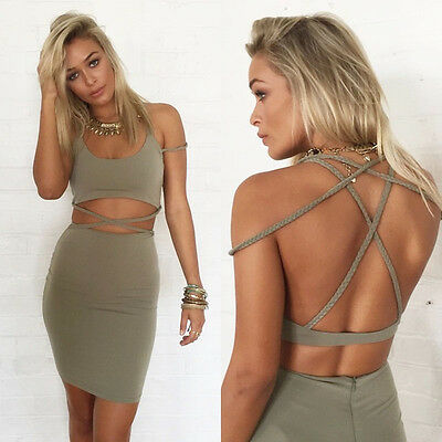 Womens Crop Top and Skirt Set Sexy Sleeveless Two-piece Bodycon Short Dress