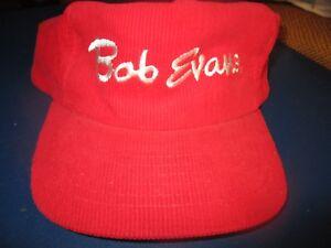 8599a90f2f4 NWOT Vintage 80 s Red Corduroy BOB EVANS Restaurant Logo Snapback ...