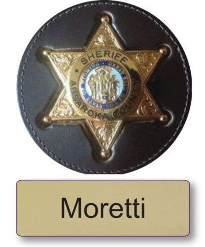 "MORETTI LONGMIRE NAME BADGE /& Deputy 3/"" BUTTON HALLOWEEN COSTUME PIN BACK"
