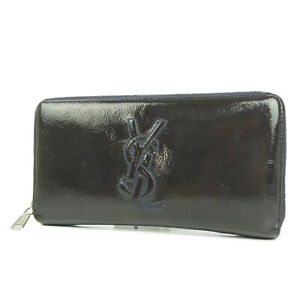 Auth-YVES-SAINT-LAURENT-rive-gauche-Leather-Zip-Around-Long-Wallet-Purse-3534