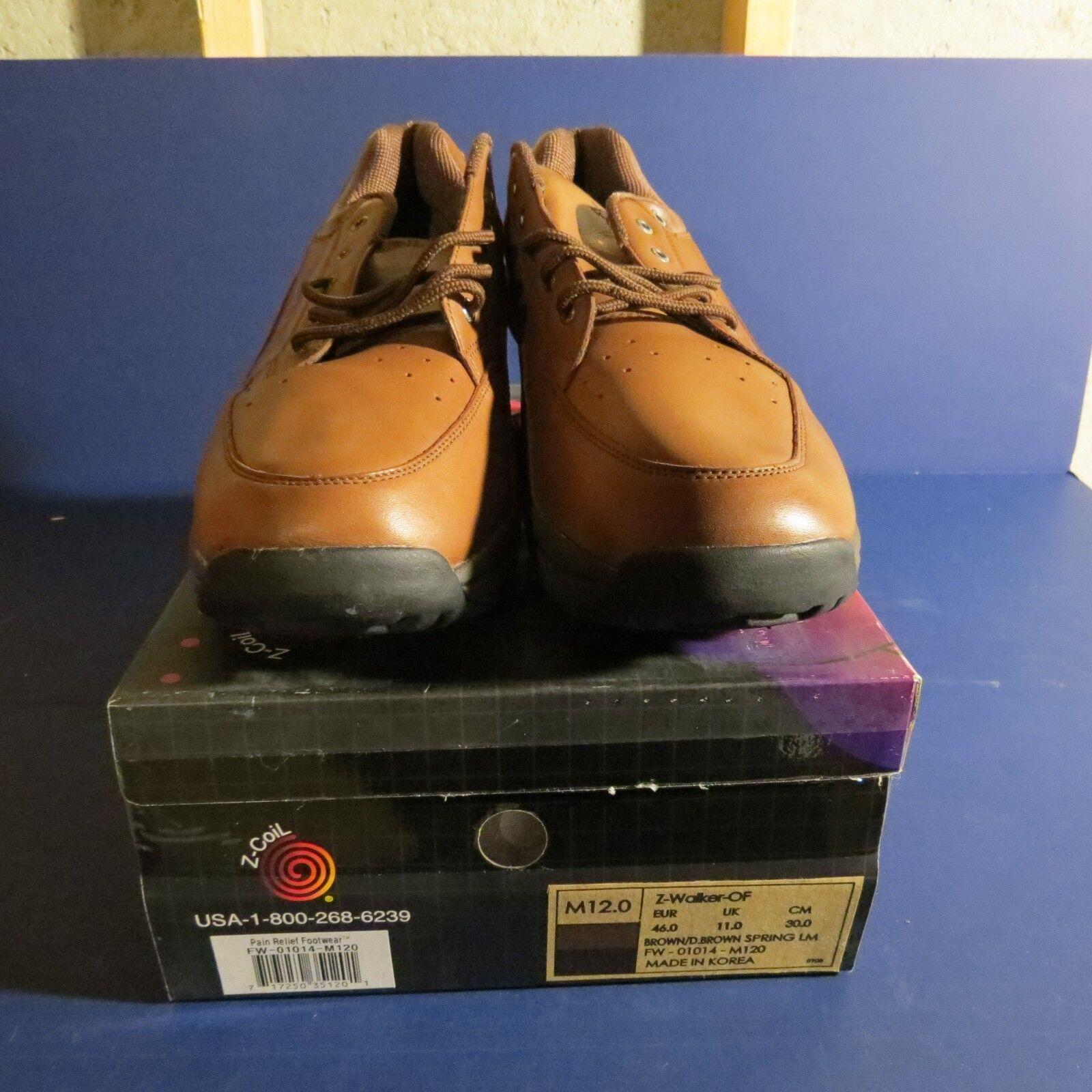 NEW Z-coil pain relief footwear mens 12 Brown Z-Walker dark brown color