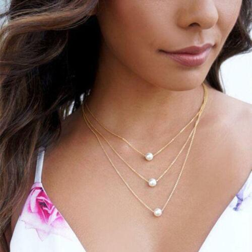 3 layer Fashion Crystal Pendant Metal Long Sweater Chain Necklace Jewelry LA