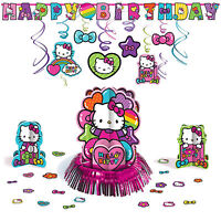 Hello Kitty Rainbow Childrens Birthday Party Pack Decoration Kit Pink Cat