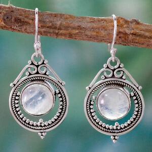 Vintage-Silver-Toned-Boho-Moonstone-Dangle-Drop-Hook-Earrings-Women-Jewelry-BS