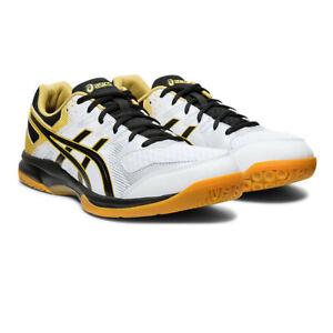 Asics Homme Gel-Rocket 9 Cour Chaussures Blanc Sports Squash Badminton Respirant