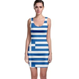 dac4f18f19c42 Details about New Greece Greek Flag Sublimated Bodycon Dress Size XS-3XL  Free Shipping