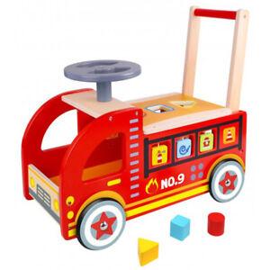 Tooky Toy Ride en bois sur un camion de pompiers Nouveau 6970090047442