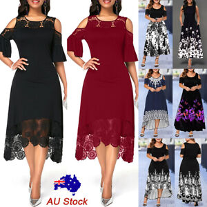 Details about Plus Size Women Lace Floral Midi Dress Evening Party Cocktail Prom A line Dress