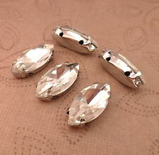 10 pcs -Sew On glass rhinestone faceted cabochons horse eye Marquise Cut