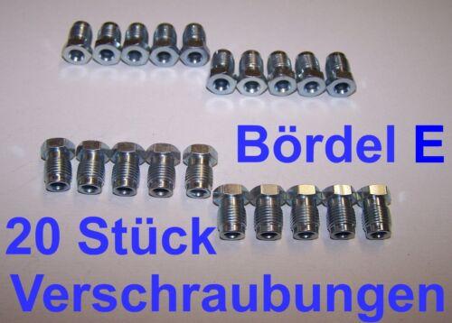 LKW 20 Stück Verschraubungen Überwurfmuttern Bördel E für Bremsleitung 6mm zb