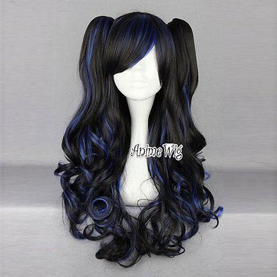 RWBY lolita Schwarz mit blau Lang Pferdschwänze Cosplay Anime Perücke Wig
