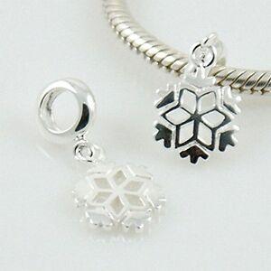Snowflake-Frozen-Christmas-Solido-925-Plata-de-Ley-Europea-Charm-Bead-Pendant