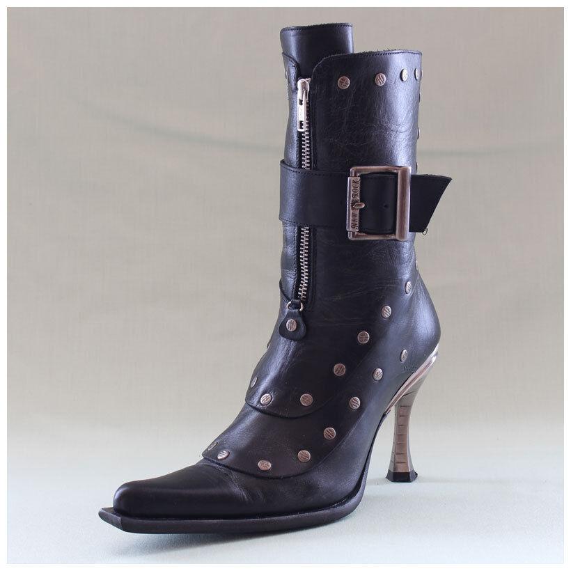 New Rock Stiefel Gr. 38 Malicia Stiefeletten schwarz mit Schnalle (#2469)
