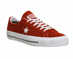 c3ee2d807ac Converse One Star Skate ROUGE BLANC GOMME POILU Baskets Daim
