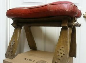 Vintage Antique Red Leather Camel Wooden Studded Saddle
