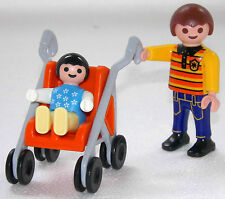 BRUDER MIT BABY im Kinderwagen Karre PLAYMOBIL zu Junge + Kind Kindergarten 1356