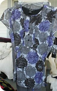 DESIGNER STYLE & CO FLORAL TIE BACK BLOUSE NEW WITH TAGS GREY & PURPLE 12 P