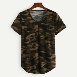 US-Women-Camouflage-Army-Casual-T-Shirt-Short-Sleeve-Camo-Shirt-Tops-Blouse-Tee