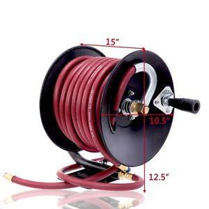Rubber-Air-Hose-Reel-Hand-Crank-Air-Hose-Compressor-3-8-034-x-50ft-Tool-Durable-US