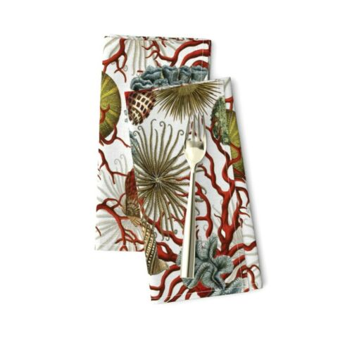 Aquatic Life Coral Starfish Ocean Sea Cotton Dinner Napkins by Roostery Set of 2