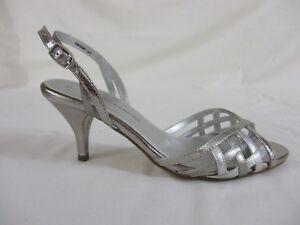 792728679c465 Dorothy Perkins Open toe sling backs. Uk 5. 2 tone silver. Kitten ...