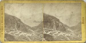Suisse Strada Montagne Foto A. Braun Stereo Vintage Albumina c1865